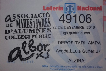 Papereta loteria Nadal 2016